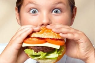 Kids eating fast food
