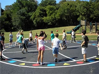 Low cost playground multi use circle